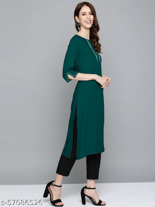 Women Solid Rayon Straight Green Color Kurti