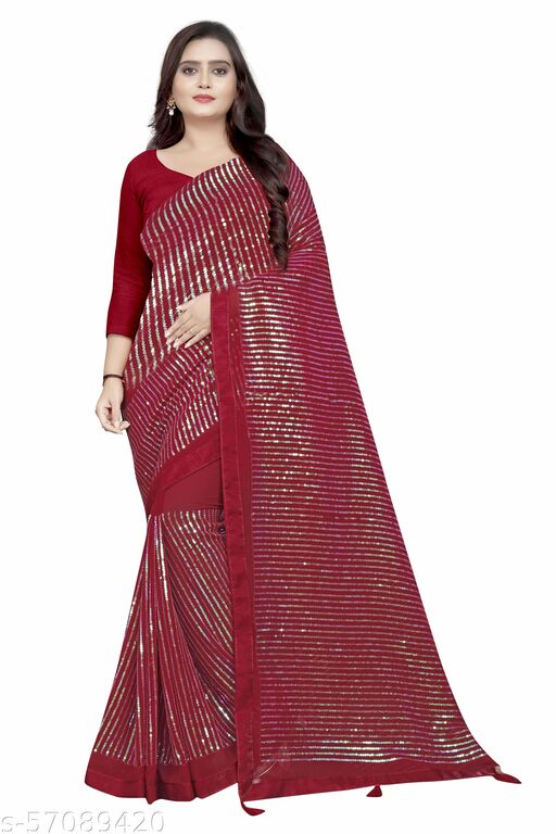 Aaradhya New Attractive Faux Georgette Sequence Worked Saree With Art Silk Blouse