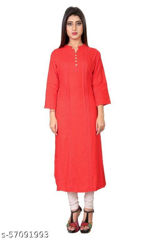 Aaradhya New Jaipuri Style Straight Plain Design Rayon Kurti