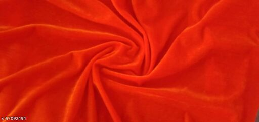 Ganesh Enyerprises Fashion Stretch Velvet Velour Fabric Decorative Soft Smooth & Silky Cloth for Home Furnishing, Curtains,Pillows/Cushions and Craft Material (Orange)