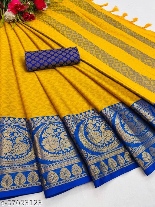 Pure Cotton Silk Saree with Chexs Look