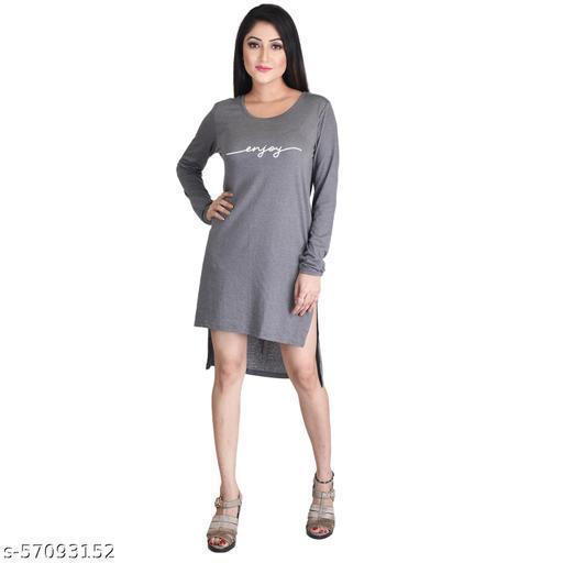 CORTEX Women's Long Top Knee Length (Comfy Fit) - Grey Color