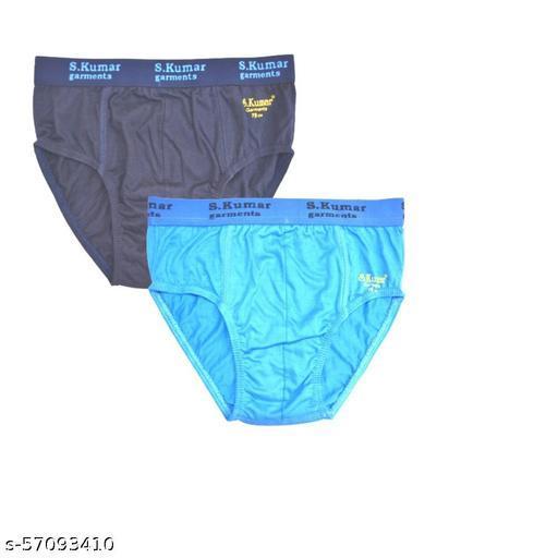 Men's Cotton Briefs (Outer Elastic, Multicolor, Pack of 2)