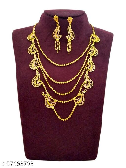 Traditional necklaces Chain Lying Gold Tone Wedding Jewellery Set for Women (Yellow)Traditional necklaces Chain Lying Gold Tone Wedding Jewellery Set for Women (Yellow)