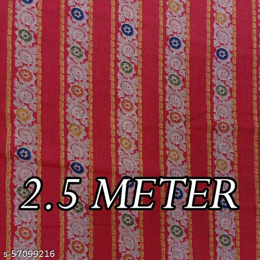 Red Base Floral Lines Print on Poly Viscose Fabric