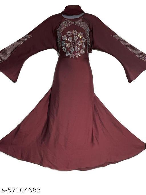 Maroon Color Simple Abaya
