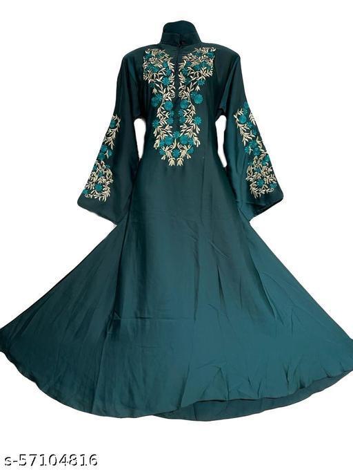 Firozi Color Embroidery Abaya