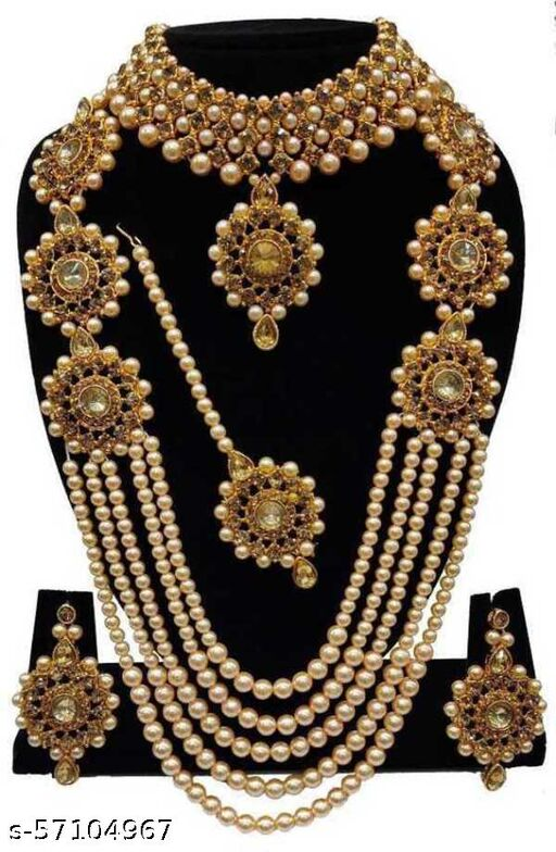 Alloy Gold-plated Studded Kundan and Pearl Jewel Set