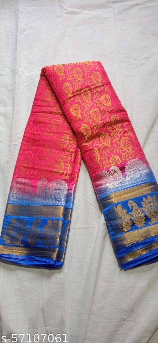 Fancy soft pattu saree with brocade blouse
