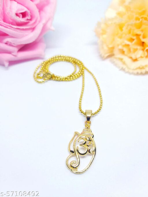 """REAL ART JEWELRY Gold Plated """"Ganesha Om """" Pendent with Chain or Necklace"""