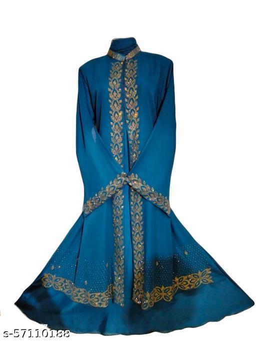 Humeira Dubai Style Shirak Firozi Abaya in Al Nida Fabric