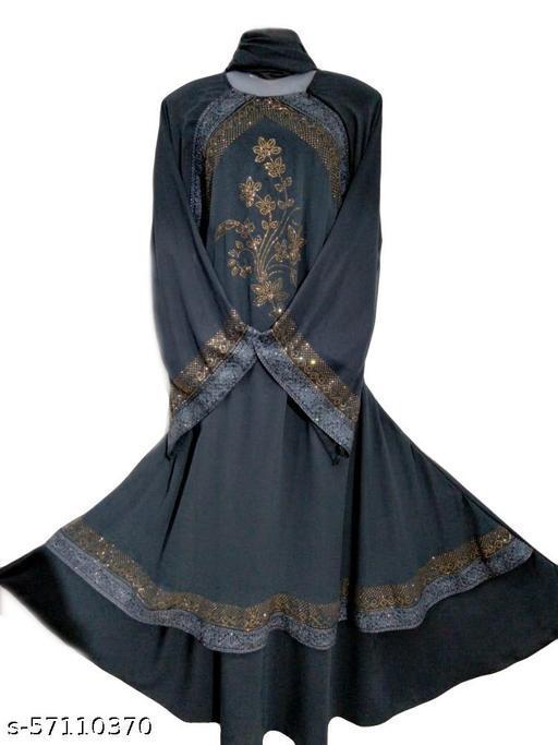 Humeira Dubai Style Grey Patti Abaya in Al Nida Fabric
