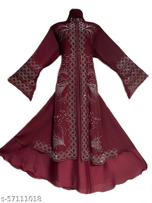 Humeira Dubai Style Red Double Color Stone Abaya in Al Nida Fabric