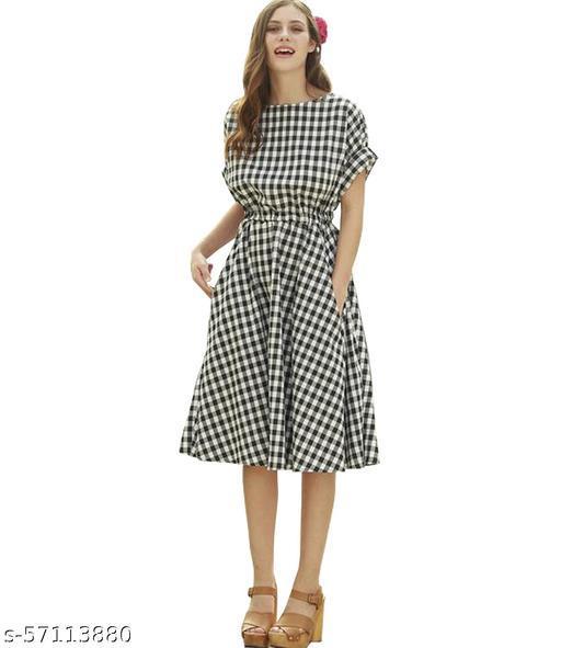 Ritsila Women's Fit And Flare Fancy Western Cotton Frock Dress