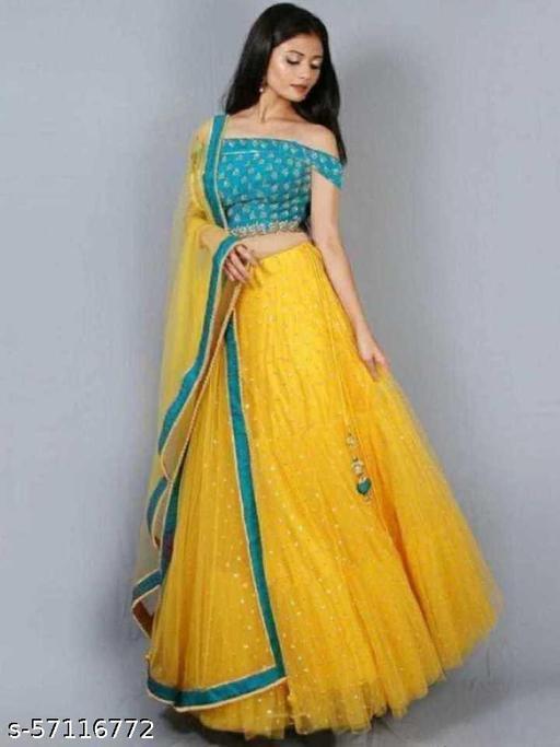 Net embroidered semi stitched Yellow lehenga choli with dupatta set for Girls/women