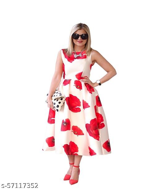 Ritsila Womens Fit And Flare Fancy Western Red Floral Midi Dress