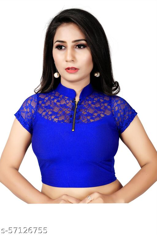 COLLAR NECK NETTED  SHORT SLEEVES WITH FRONT ZIP COTTON LYCRA WOMEN BLOUSE