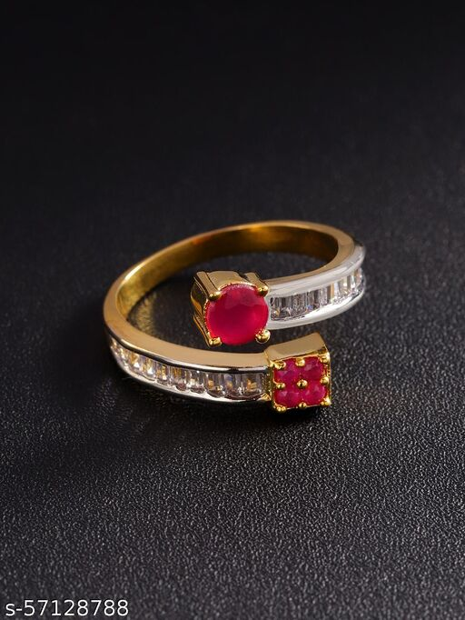 Gold-Plated American Diamond And Ruby Studded Adjustable Ring