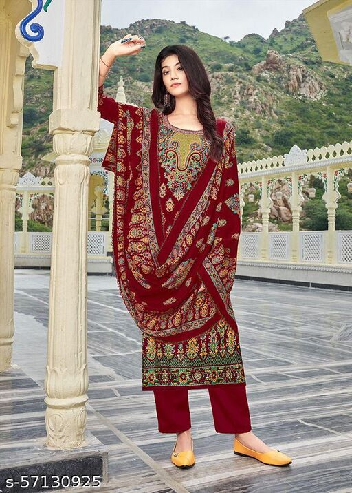 BBQSTYLE Women's Printed Pashmina Unstitched Dress Material With 4 Side Arque Worked Pashmina Shawl