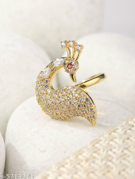 American Diamond Gold Plated Peacock Shaped Ring