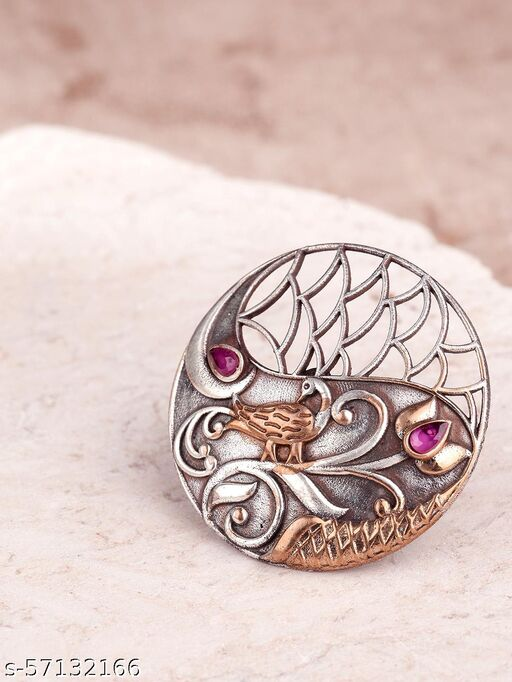 Oxidized Dual-Toned Ruby Studded Adjustable Ring