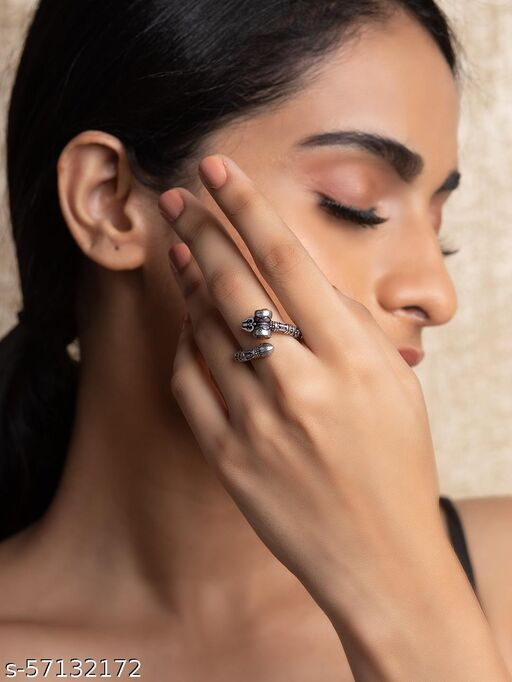 Oxidized Silver Shiva Inspired Ring