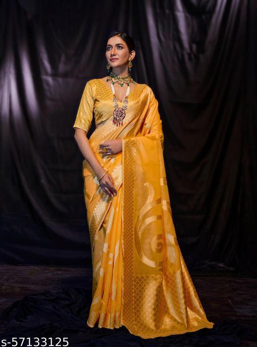 Aurima Soft Cotton Woven Designer Saree For Women (Yellow)