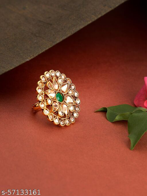 Gold-Plated Stones and Emerald Studded Adjustable Ring in Floral Pattern