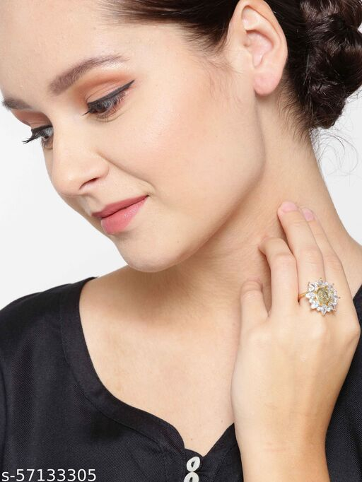 Gold-Plated American Diamond Studded Adjustable Ring in Floral Pattern