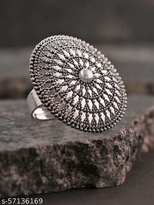 Oxidized Silver Textured Adjustable Ring in Floral Pattern