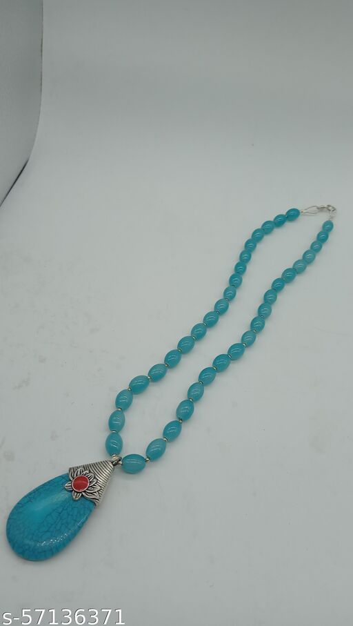 Sky blue stone smooth drum beads necklace. use for woman.