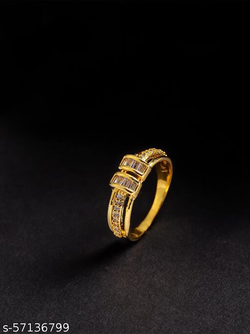 Gold-Plated American Diamond Studded Finger Ring