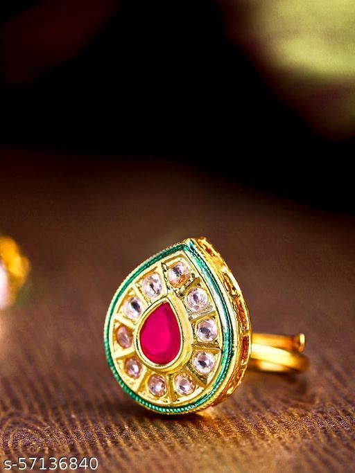 Gold-Plated Kundan & Ruby Studded Adjustable Ring