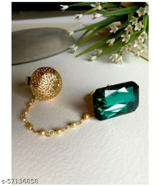 Gold-Plated And Green Stone-Studded Dual Finger Adjustable Ring with Pearls