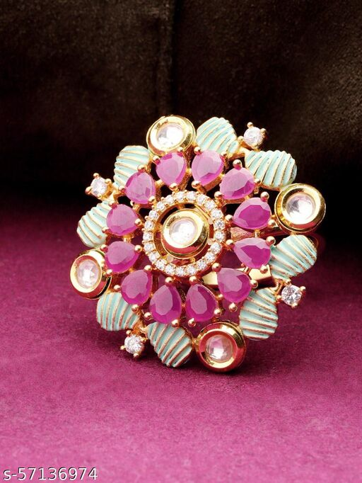Gold-Plated Floral Patterned Pink and Green Meenakari Adjustable Ring Studded with Kundan and Ruby