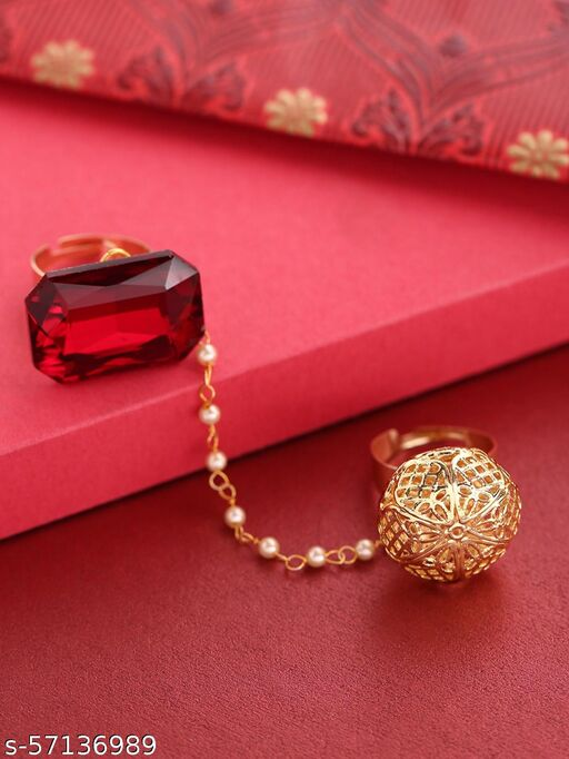 Gold-Plated And Red Stone-Studded Dual Finger Adjustable Ring with Pearls