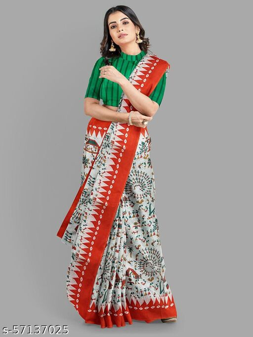 cotton mul-mul hand printed saree with blouse