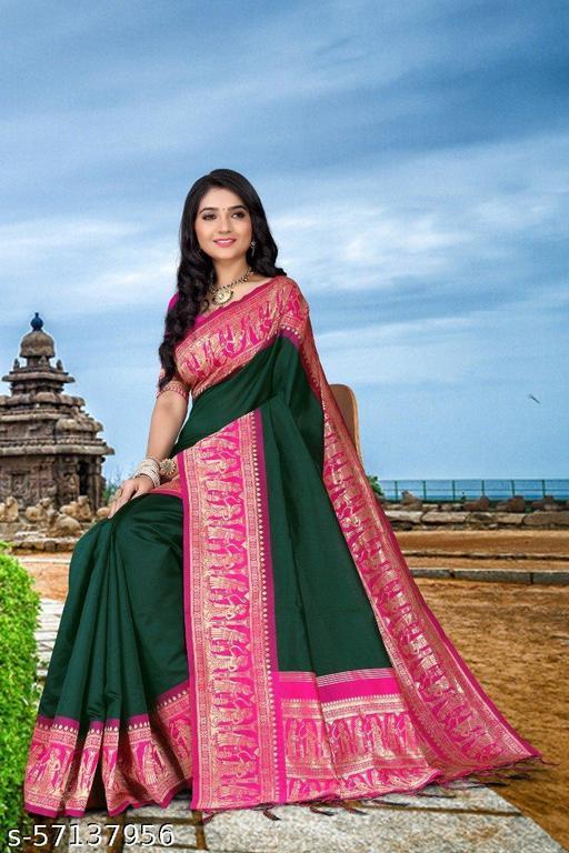 Beautiful Designer Kanjieevaram Silk Jacquard Saree with Blouse Piece for Women