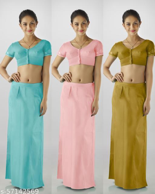 Premium quality cotton petticoat for Women.  Pack of 3 (Light Teal,  Peach,  Caramel)