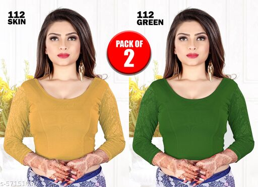 PURE COTTON READY MADE STRETCHABLE ROUND NECK BLOUSE WITH NET FULLSLEEVES