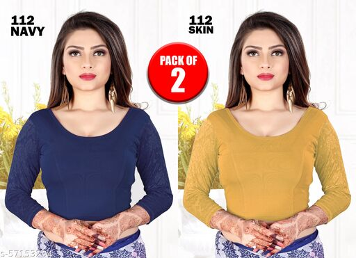 PURE COTTON READY MADE STRETCHABLE ROUND NECK BLOUSE WITH NET FULL SLEEVES