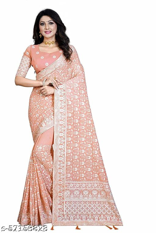 women's Lakhanavi work Embroidered Sarees Georgette