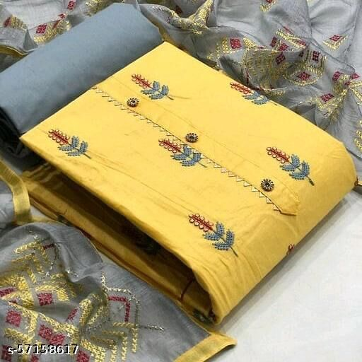 Flirty Yellow Colored Casual Embroidered Cotton Dress Material