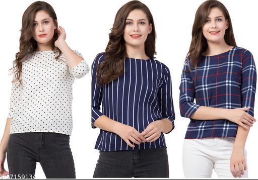 Women's Casual Trendy Printed Top- Slim fit-3/4th Sleeves- Multiset of 3 (Combo Pack)