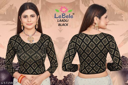 JACQUARD WEAVED (NOT GOLD PRINT) HEAVY COTTON LYCRA STRETCHABLE READYMADE STITCHED BLOUSE (FOR WINTER SEASON)