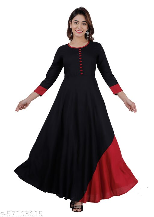 Black and Maroon Color Party Wear Anarkali Kurti for Women
