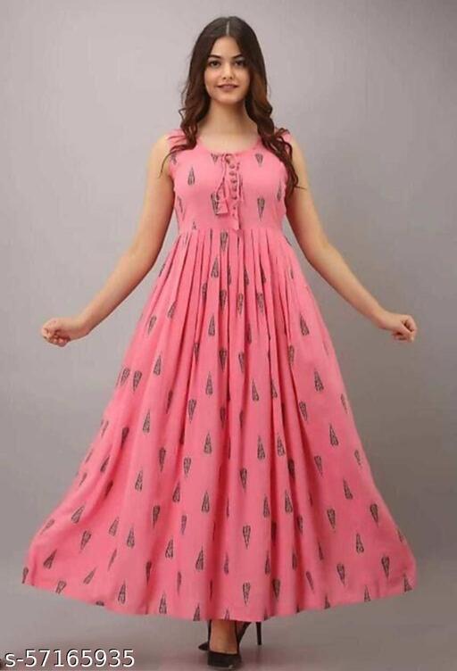 Women Printed Rayon Flared & Anarkali gown