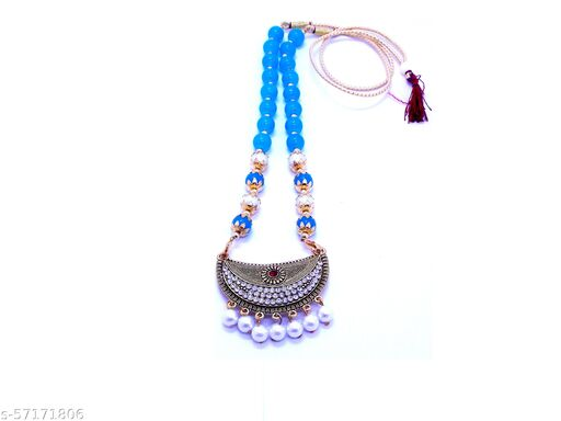 Beautiful & Traditional heavy Sky Blue Pearl Necklace with Antique Stone Pendent . (Pack of 01)