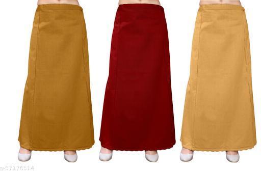 Prettify Women's Stylish Cotton Petticoats Pack of 3(Purple,Brown,Red)