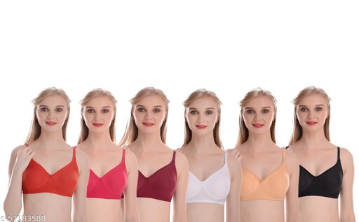 Myra lifestyle Cotton Hosiery Non Padded Seamless Bra With Detachable And Transparent Strap (Pack Of 6)